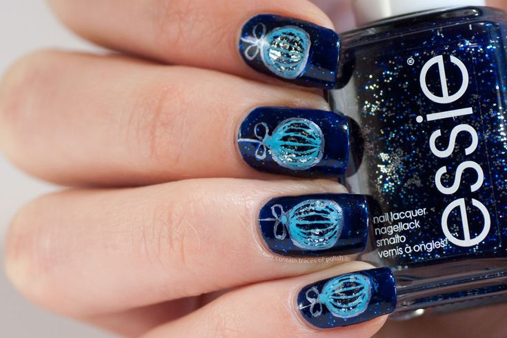 Blue Christmas Ornament Nails