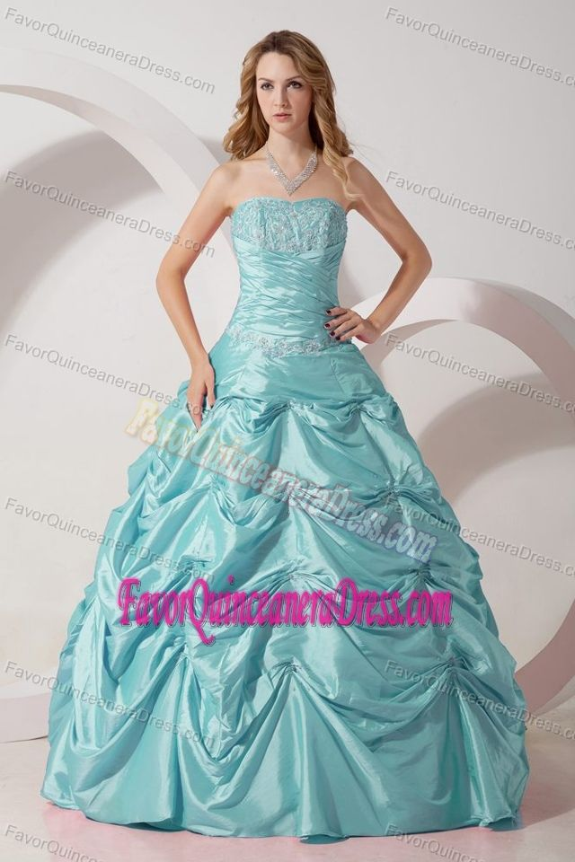 Strapless Taffeta Appliqued Quinceanera Gown Dresses in Baby Blue