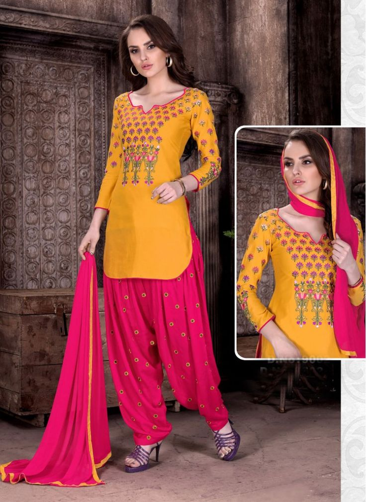 Grandiose Lace Cambric Cotton Hot Pink and Yellow Patiala Salwar Suit