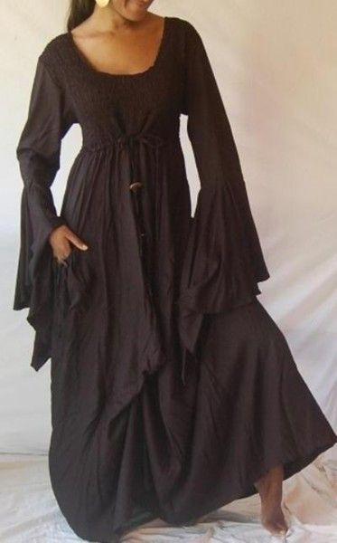 Boho Peasant Smoked Top Ruffle Sleeve Tie Hem Dress by Swirl Clothing.