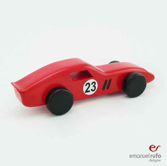 Red Wooden Toy Car Wooden Car for kids boys by emanuelrufo