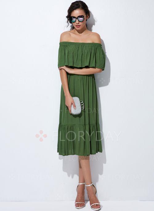 Sukienki - $39.99 - Mieszanka Bawełny Solidny Bez rękawów Do Połowy Łydki Elegancki Sukienki (1955129258)