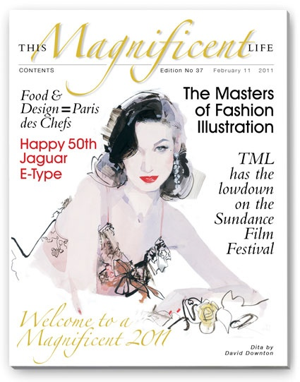 ThisMagnificentlife.com issue 37 with Dita Von Teese by one of fashion's greatest illustrators David Downton.