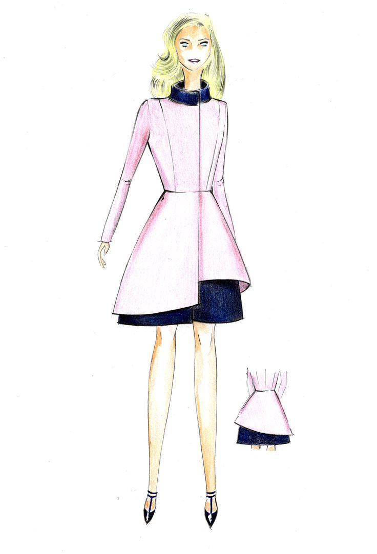 """María Gondar. ITALIANO. Soprabito con gonna asimmetrica in """"laine d'étè"""" rosa e blu marino.  ESPAÑOL. Abrigo  en lana rosa pastel y azul marino"""