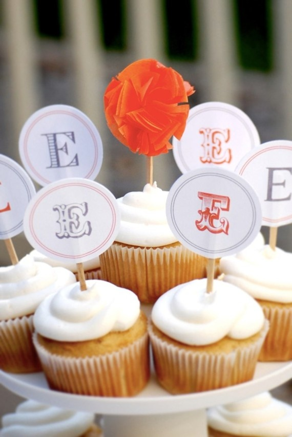 cup cake monogram toppers