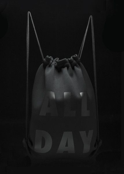"""Bags made with recycled plastic! Gym Sack in Black Neoprene with Vinyl Press Dimensions Height: 19.25"""" Width: 15.75"""""""