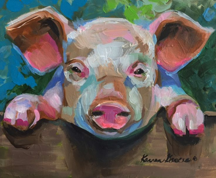 """""""pig-a-boo"""" 9x11.5 pig art portrait acrylic painting on canvas. A loose, fun little exercise. $245  www.karrenmgarces.com"""