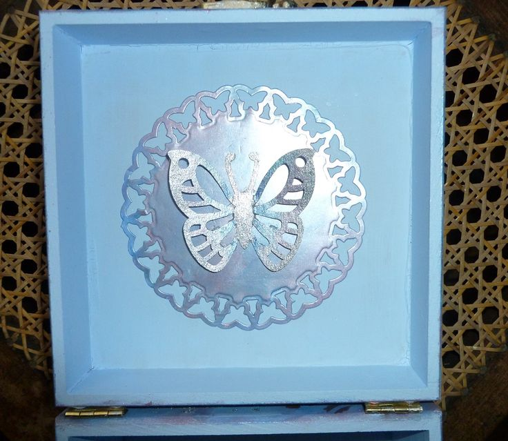 'Blue,pink & silver MDF Box'  - inside of lid.   Products the same as previous photos of   this box.   January 2016.
