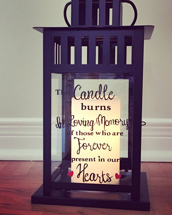 In Loving Memory Lantern for any occasion where you want to remember a loved one whom you have lost.  This steel lantern (Black or White) is personalized with high quality permanent outdoor vinyl This Candle burns in loving memory of those who are forever in our hearts on the back glass (which can change depending on your preference). The vinyl in the picture is black with red hearts. I do have other vinyl colours so please let me know if youd like to change them. The lantern measurements…