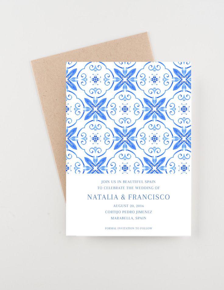 Spanish Tile Save The Date, Destination India, Bridal Shower, Wedding  Invitation
