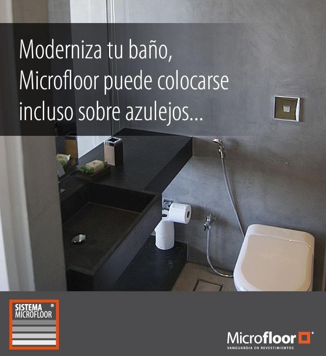 Baño - Revestimiento sobre azulejos en microcemento Microfloor Línea Classic