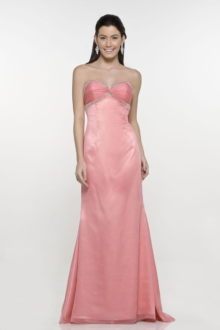 Fushia Sweetheart Neckline With Beads Working Satin Floor Length Evening Dress