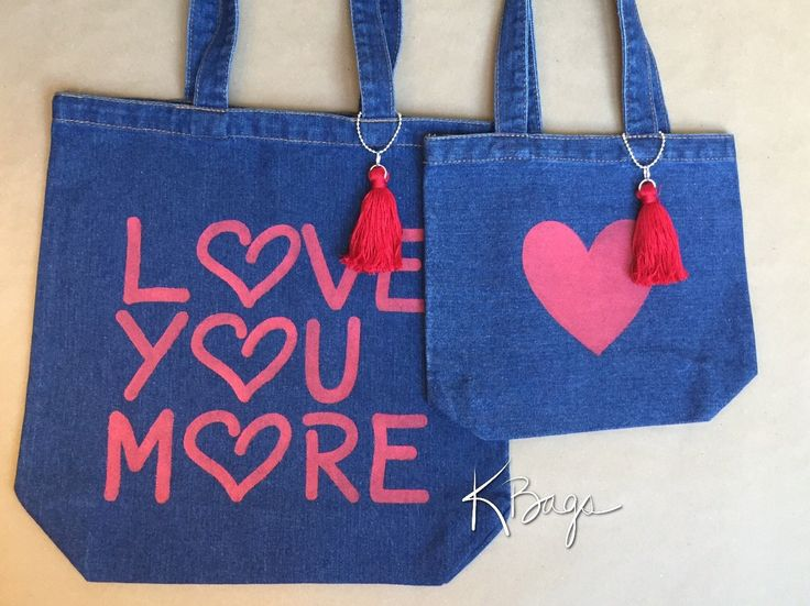 Love+You+More+-+Mother+Daughter+Gift+-+Denim+Tote+Bag+-+School+Book+Bag++-++Book+Bag+-+Hand+Painted+Tote+-+Gift+For+Her+Handmade+Tassel+by+KristiBags+on+Etsy