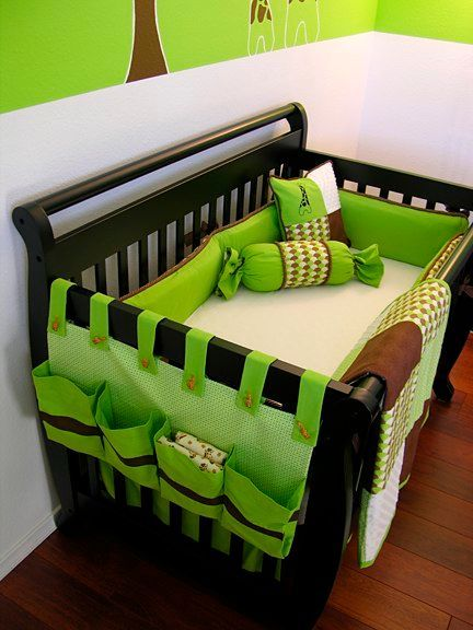 Love the idea of making something to hang from the outside of the crib for storage!
