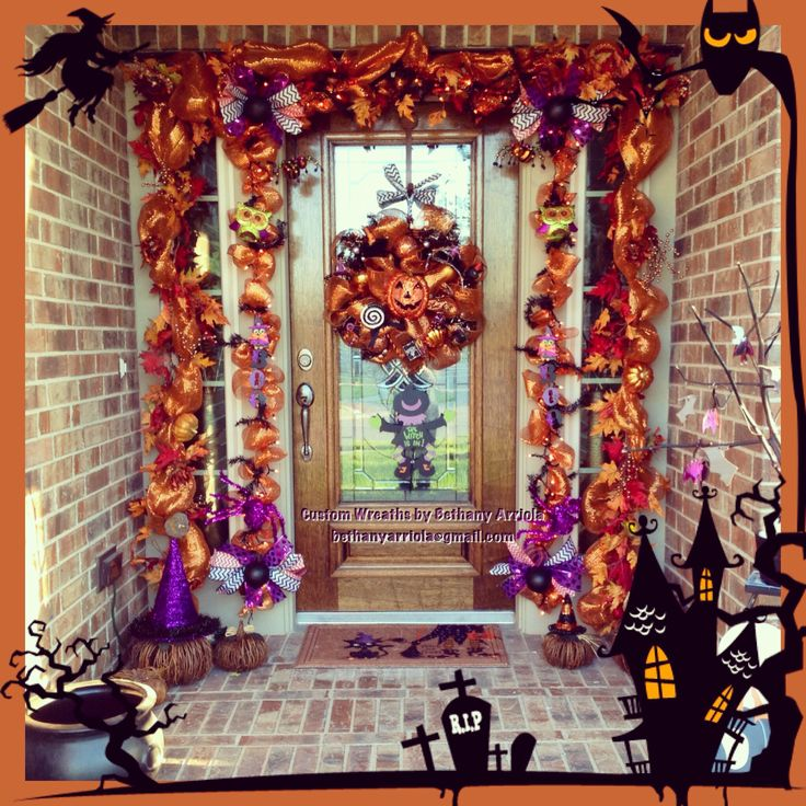 Custom Halloween Pumpkin Witches Owls Deco Mesh Wreath