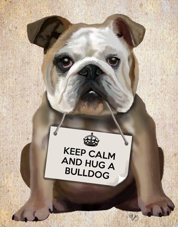 English Bulldog, Hug a Bulldog Print 14x11 Art Print Digital English Bulldog Illustration Wall Decor Wall hanging Art Picture Painting on Etsy, $43.34 #bulldog
