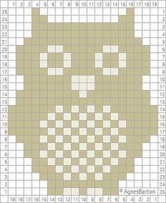 Eule: Vorlage für Pixel crochet, Crochet corner to croner (c2c)