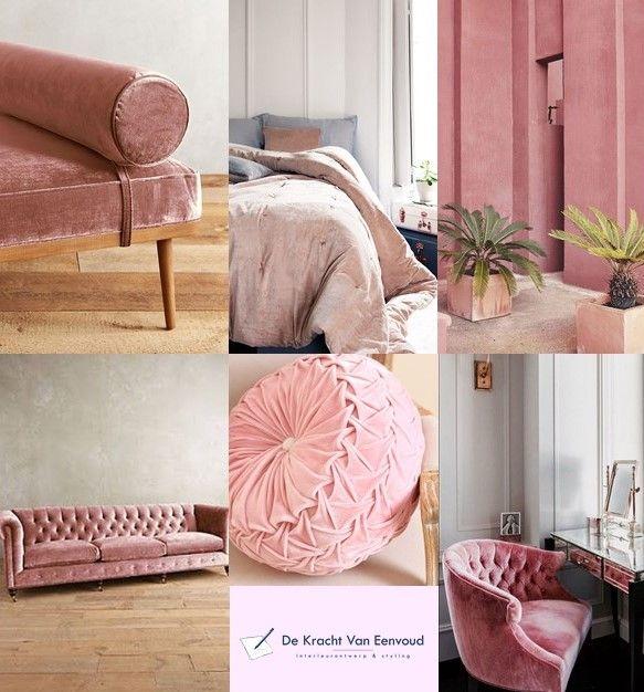 Pink velvet interior inspiration / interieurinspiratie roze fluweel