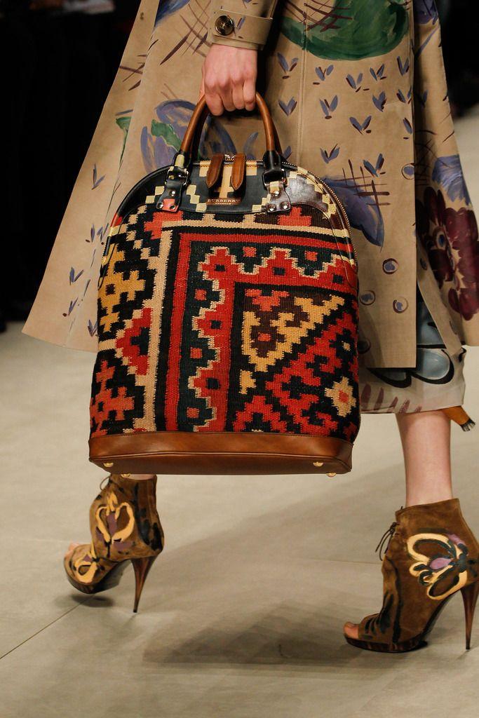 carpet handbag. burberry prorsum / fall 2014 high fashion ethnic \u0026 oriental carpet kilim handbag