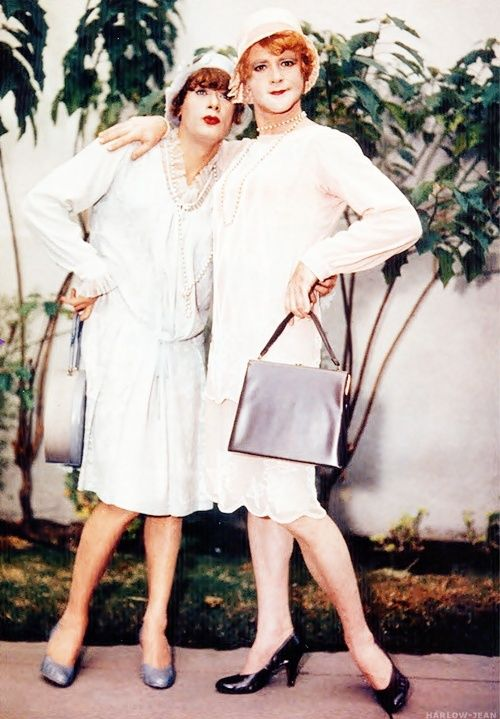 Tony Curtis and Jack Lemmon on the set of Some Like It Hot.