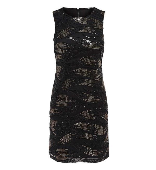 Only jurk model Amina. Deze mouwloze jurk heeft een patroon van pailletten all over en een rits aan de achterzijde.