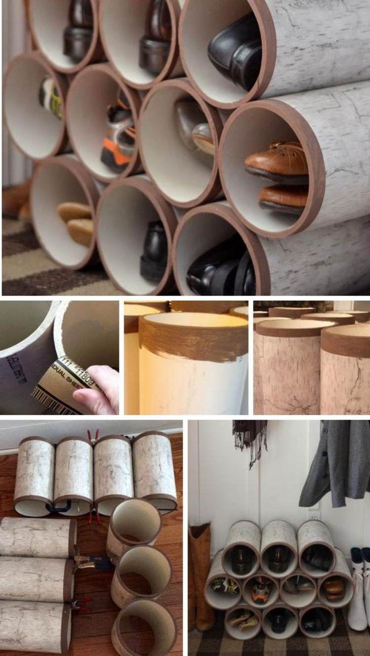 Schuhregal aus mehreren Zylindern zusammen bauen