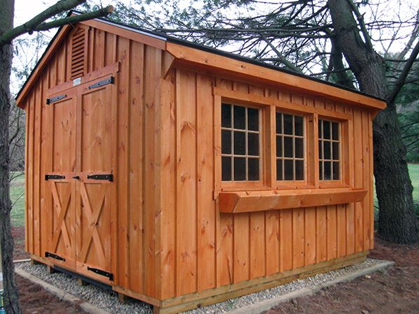 Here we have a 10x16 potting shed with a cedar stained pine board and batten exterior the row Exterior board and batten spacing