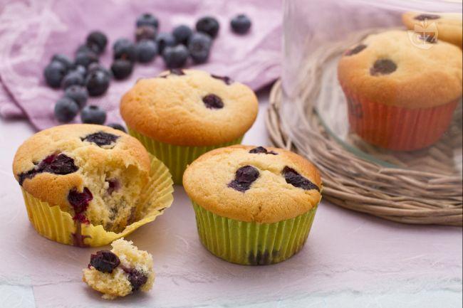 I muffins ai mirtilli sono soffici dolcetti americani arricchiti con mirtilli freschi, la soluzione ideale per la colazione e per la merenda.