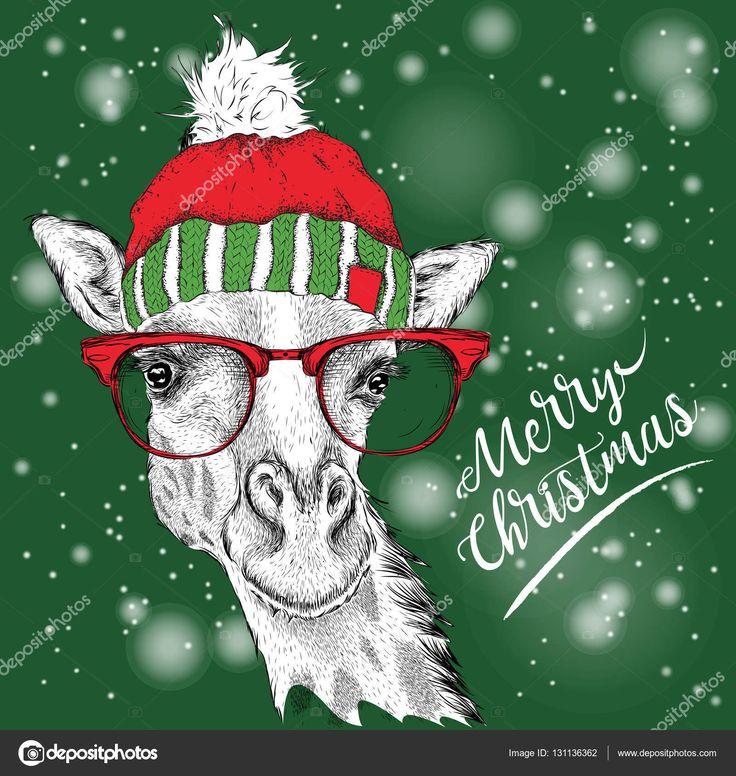 Скачать - Рождественская открытка с жирафом в зимней шапке. Счастливого Рождества надписи дизайн. Векторная иллюстрация — стоковая иллюстрация #131136362