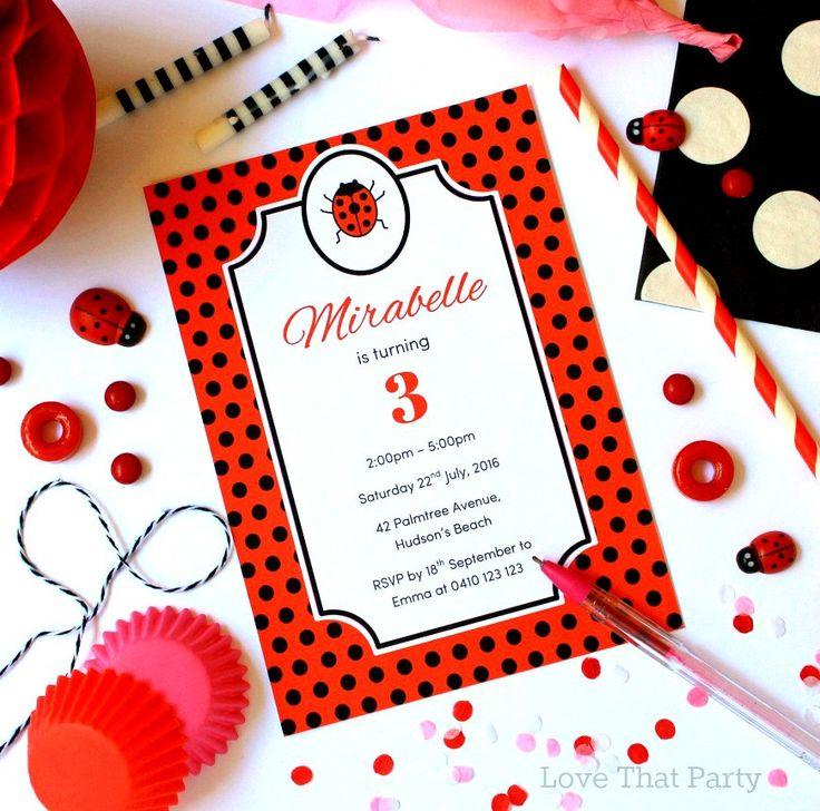 LADYBUG INVITATION, 1st BIRTHDAY Invitation, First Birthday Girl, Printable, Personalized, Custom Invitation, Ladybug Birthday, Red, U Print by LoveThatPartyInvites on Etsy