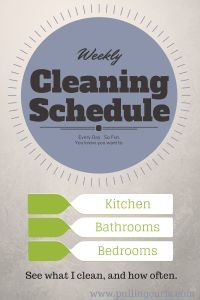 My weekly cleaning schedule with all the links to what jobs I do what day and how often.  Keep a clean house without feeling overwhelmed {or just get some ideas on how to clean yours better}. #pullingcurls