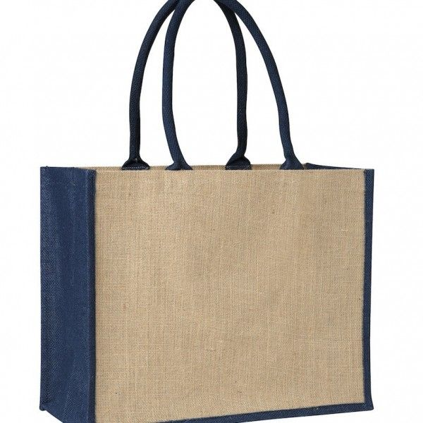 LAMINATED JUTE SUPERMARKET BAG WITH BLUE HANDLES AND GUSSETS – TB 0137 LJ (CONTRAST BLUE)  Price includes 1 color, 1 position print   2 Color imprint available for an additional charge