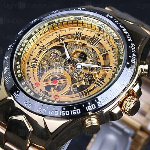 Herren Armbanduhr / Mechanische Uhr Automatikaufzug Transparentes Ziffernblatt Edelstahl Band Gold Marke 4993975 2016 – €23.51