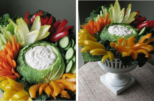 Wow, this veggie arrangement will really stun at your Thanksgiving dinner! See more vegetable trays and arrangements