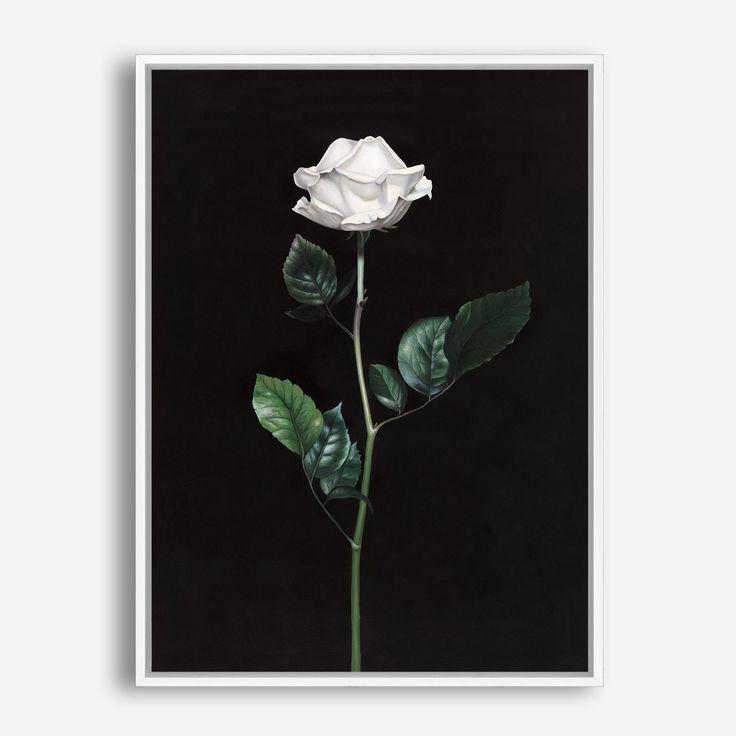 Single White Rose Canvas Art Black Flower Minimalist Scandinavian Artwork Decor By The Print Emporium