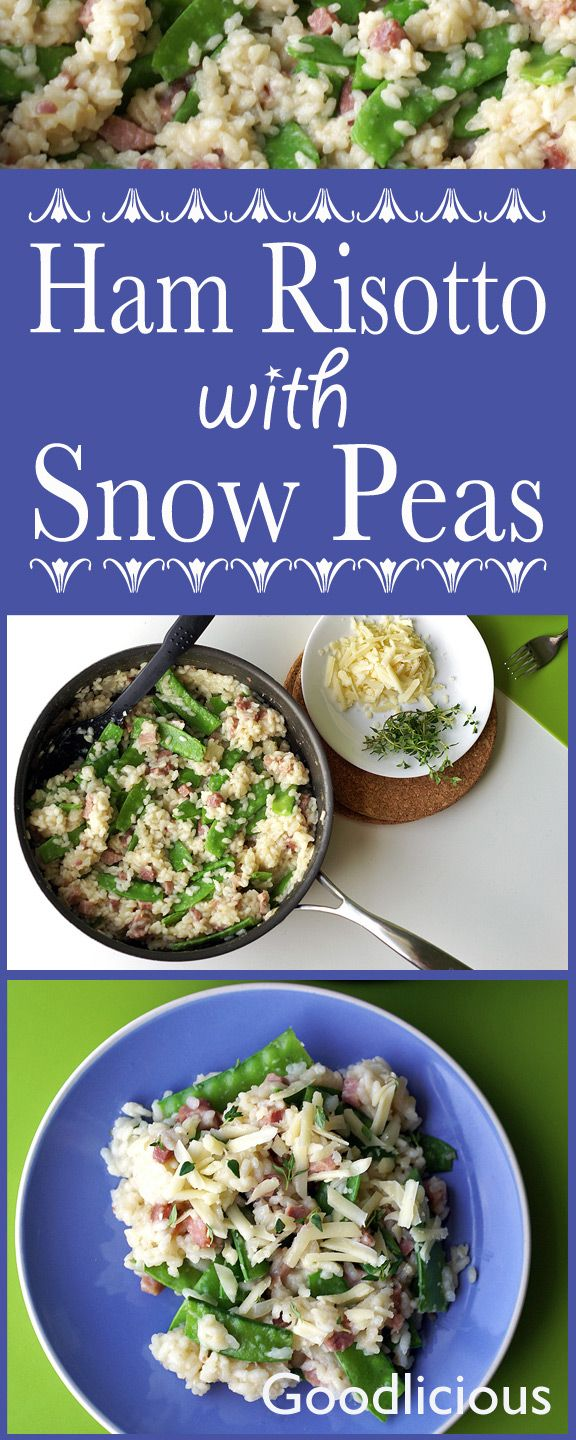 Creamy risotto with ham and snow peas is a delicious way to use leftover holiday ham. And, this hearty comfort food is loaded with calcium, vitamin C and iron.