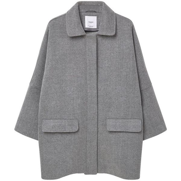 Cocoon Wool-Blend Coat (£30) ❤ liked on Polyvore featuring outerwear, coats, long sleeve coat, collar coat, mango coats, wool blend coat and cocoon coat