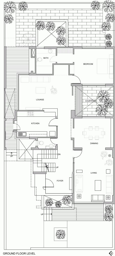 The Overhang House / DADA & Partners _ ground floor plan _ patio