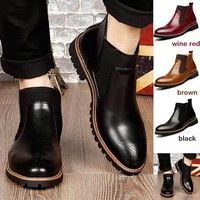 Wish | 2016 Black/Red/Brown British Style Men's Ankle Boots,High Quality Genuine Leather Chelsea Boots,Bullock Rubber Sole Chelsea Shoes