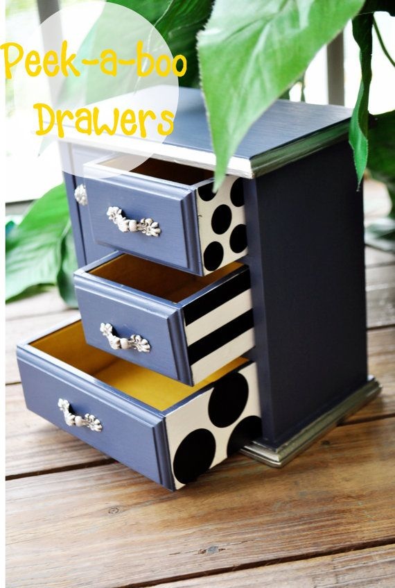 Hand Painted Jewelry Box. peek a boo drawers