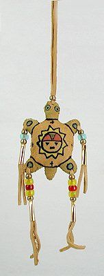 Native American Indian Buckskin Spirit Turtle - Nurturer, Protector, Mother Energy, Mother Earth. Turtle's medicine includes connection with Great Spirit, journeys of discovery, patience, feminine strength, power to heal female diseases, inspiration, protection, self-reliance, tenacity, longevity. By Alan Monroe - Oglala Lakota.