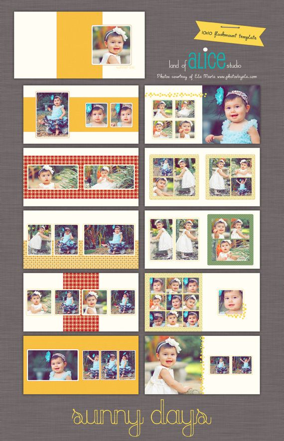 10x10 Photo Album Template  WHCC Flushmount  by landofalicestudio, $30.00