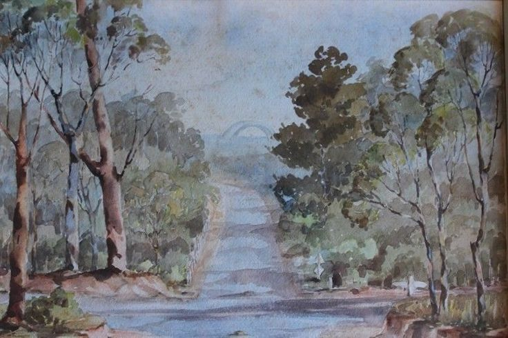 Vintage Painting Crossroads Bush View Sydney Harbour Bridge C1947 Wynne Finalist