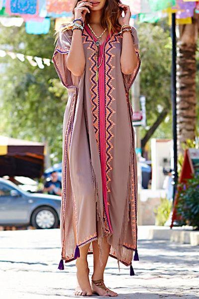 High Slit Embroidered Tassels Dress
