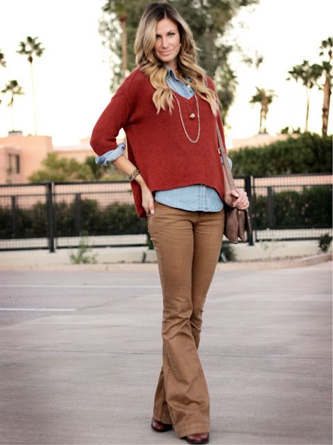 (Teacher Style) Dark khaki bootcut pants - light blue button up top - maroon 3/4 sleeve poncho type sweater - long necklace