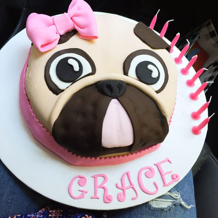 Pug birthday cake I made  #pug #cake