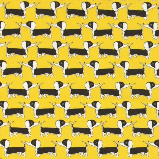 Stretch jersey yellow with dogs