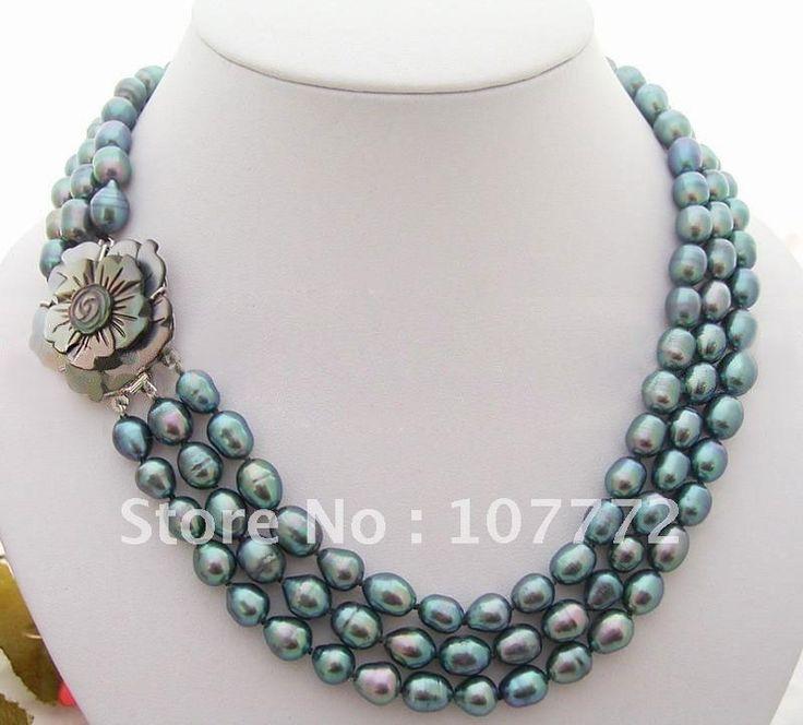 3 strands 9.5 x 8 мм черный рис жемчужное ожерелье