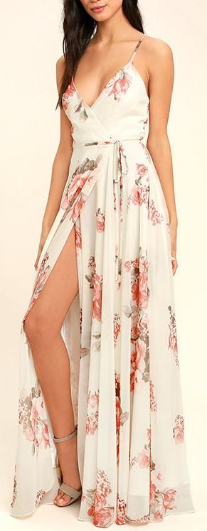 Lulus | Elegantly Inclined Cream Floral Print Wrap Maxi Dress | Size X-Small | White | 100% Polyester