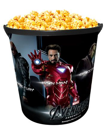 Summer refillable popcorn buckets are coming on May 1st, 2012 to Celebration Cinema with an Avengers theme!